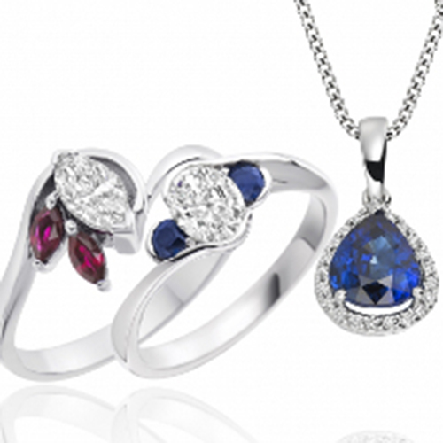 Silver rings with blue and pink gemstones