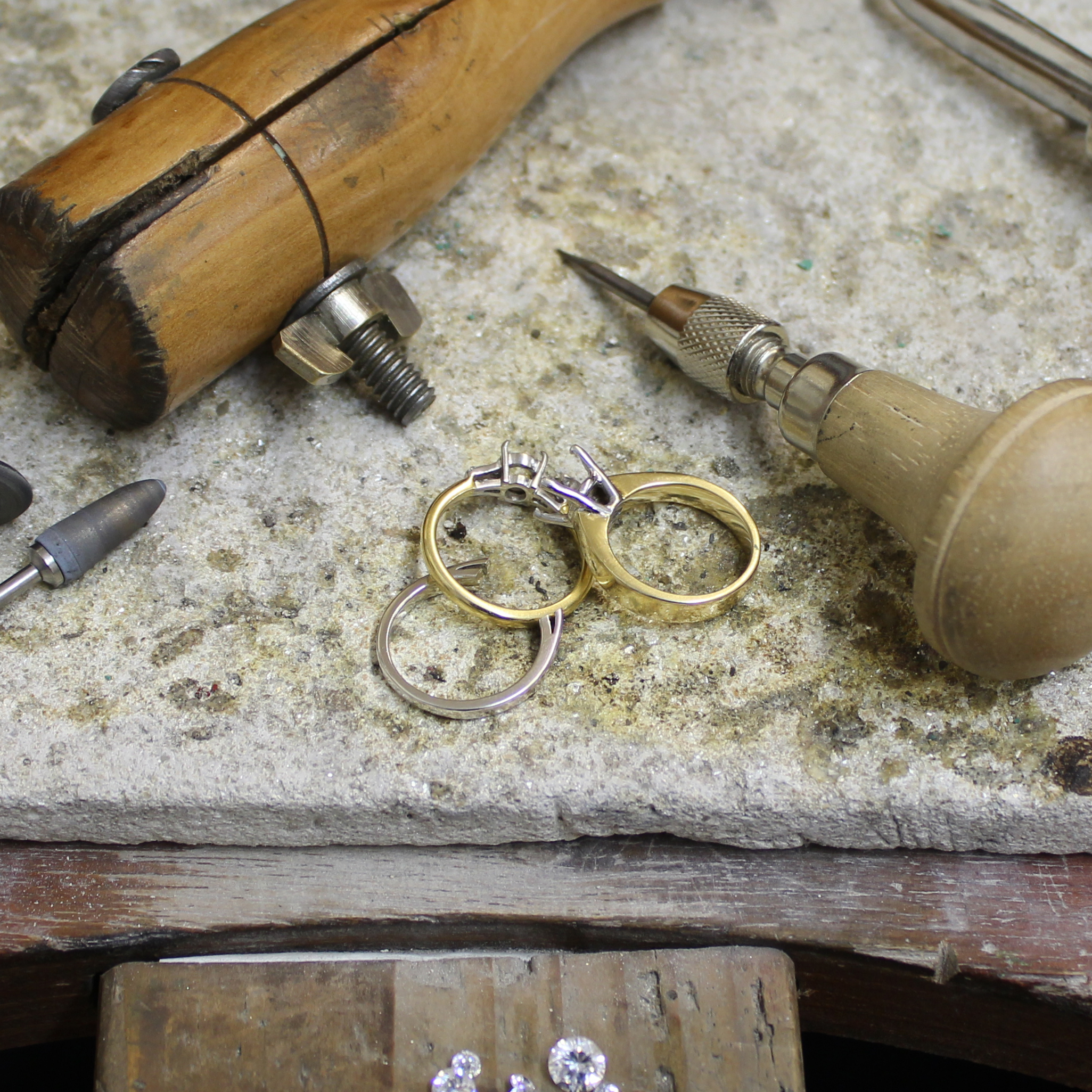 Rings in the process of being made with tools